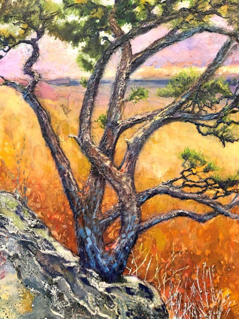 painting of tree on a mountain