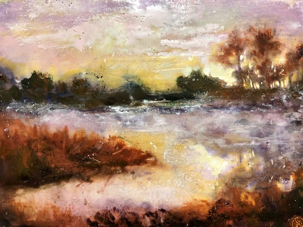 encaustic painting pond