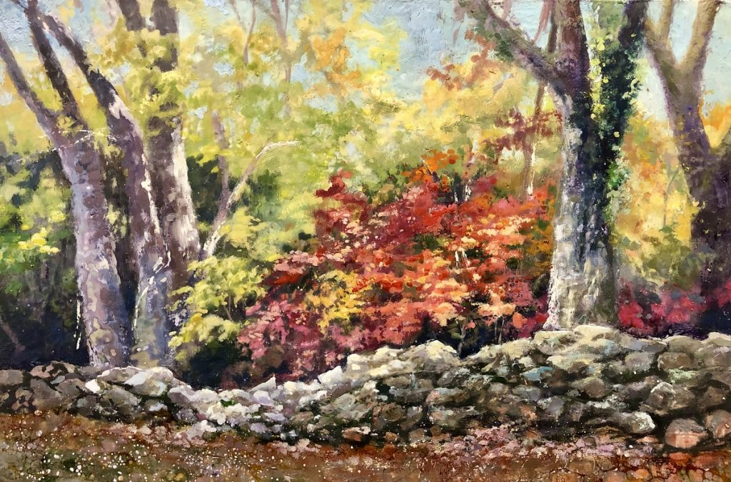 trees and stone wall painting